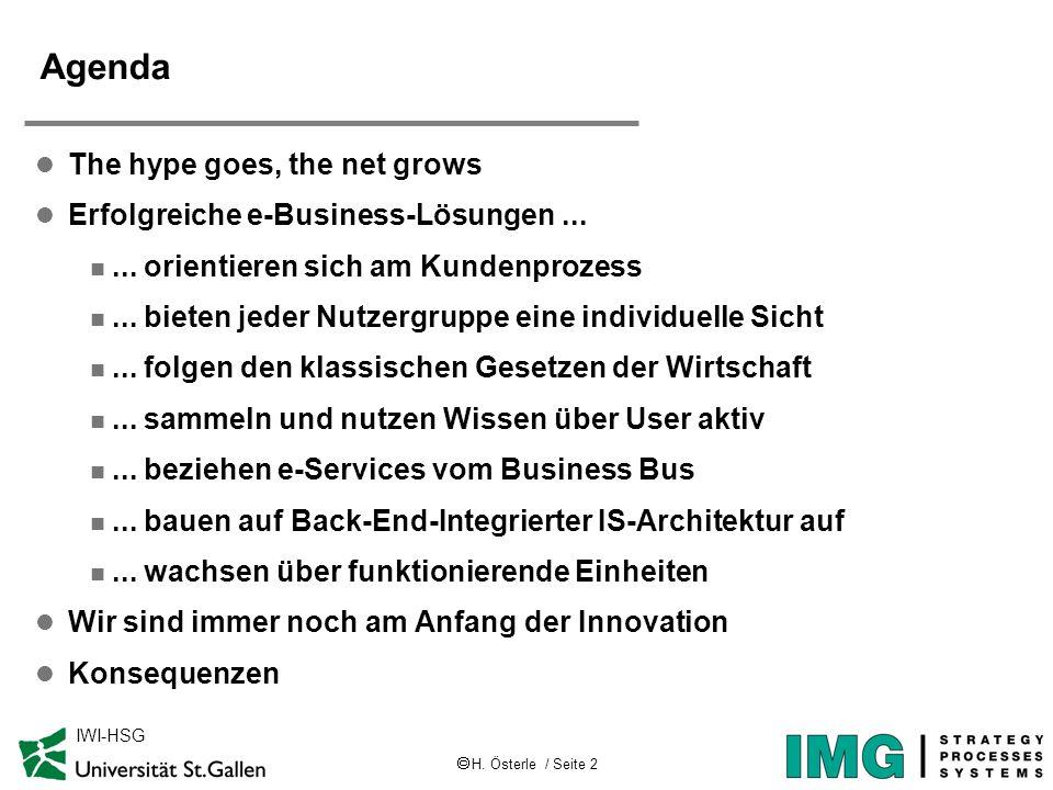 H. Österle / Seite 2 IWI-HSG Agenda l The hype goes, the net grows l Erfolgreiche e-Business-Lösungen... n... orientieren sich am Kundenprozess n... b