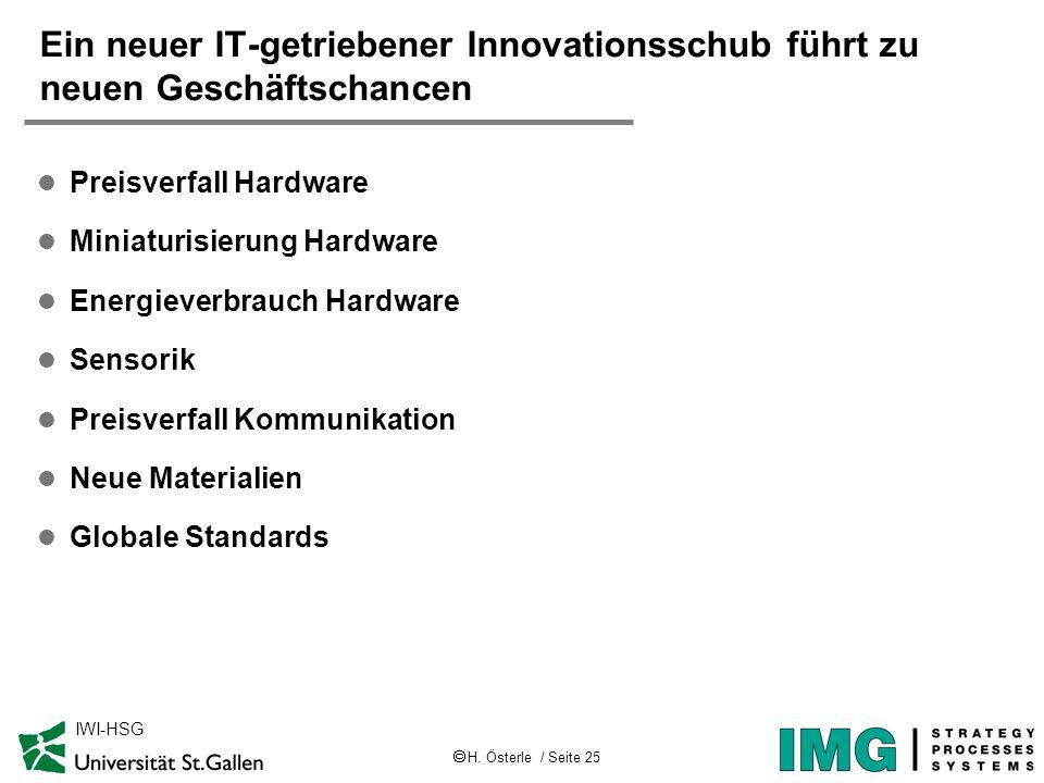 H. Österle / Seite 25 IWI-HSG Ein neuer IT-getriebener Innovationsschub führt zu neuen Geschäftschancen l Preisverfall Hardware l Miniaturisierung Har