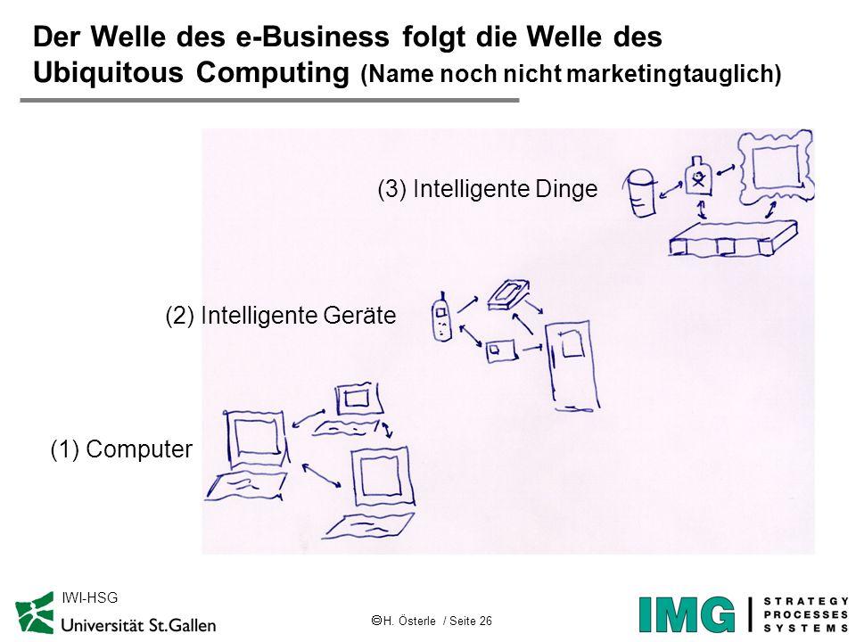 H. Österle / Seite 26 IWI-HSG Der Welle des e-Business folgt die Welle des Ubiquitous Computing (Name noch nicht marketingtauglich) (1) Computer (2) I