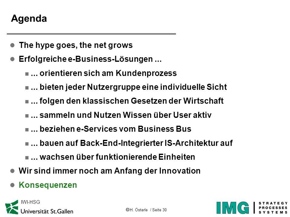 H. Österle / Seite 30 IWI-HSG Agenda l The hype goes, the net grows l Erfolgreiche e-Business-Lösungen... n... orientieren sich am Kundenprozess n...