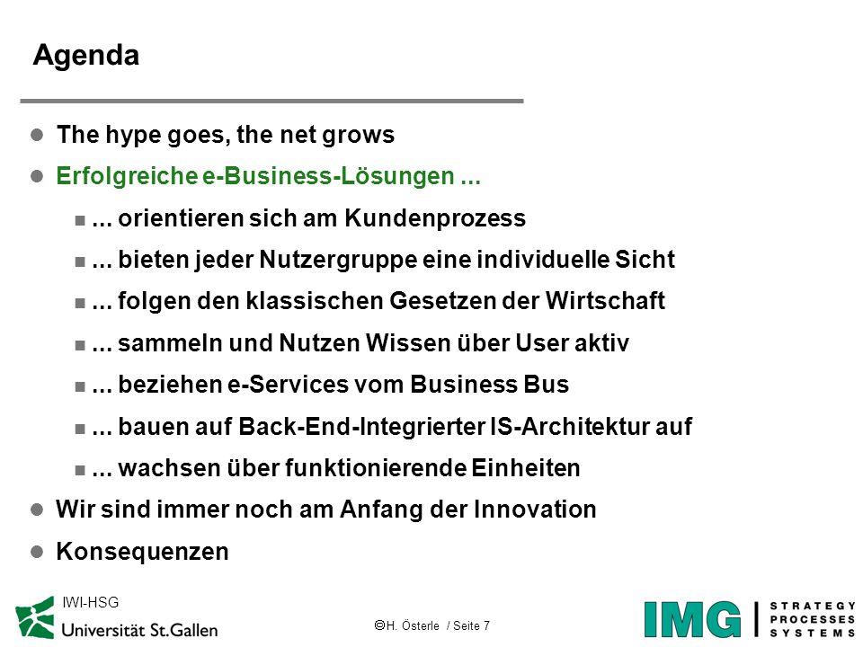 H. Österle / Seite 7 IWI-HSG Agenda l The hype goes, the net grows l Erfolgreiche e-Business-Lösungen... n... orientieren sich am Kundenprozess n... b