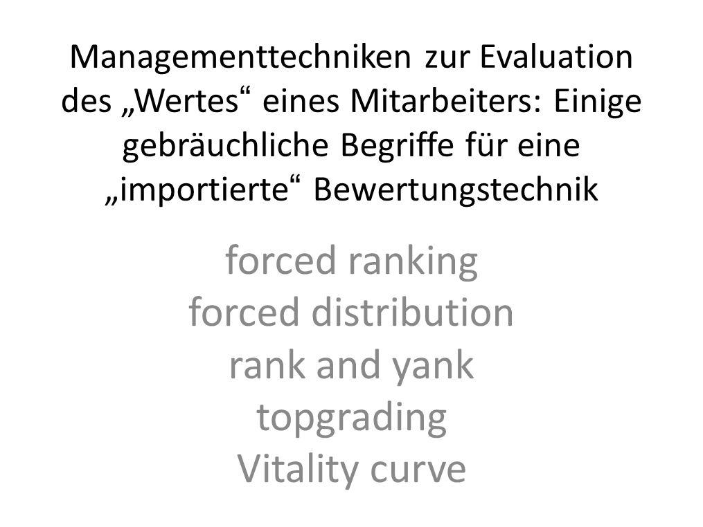 Managementtechniken zur Evaluation des Wertes eines Mitarbeiters: Einige gebräuchliche Begriffe für eine importierte Bewertungstechnik forced ranking