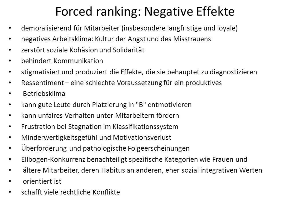 Forced ranking: Negative Effekte demoralisierend für Mitarbeiter (insbesondere langfristige und loyale) negatives Arbeitsklima: Kultur der Angst und d