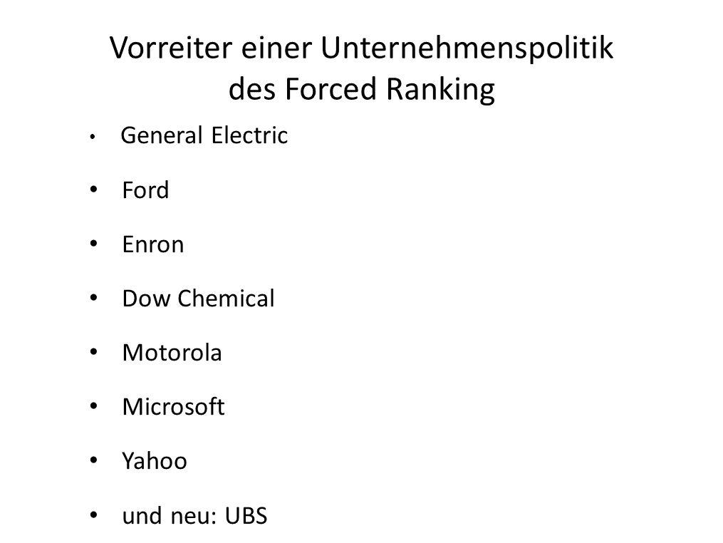 Vorreiter einer Unternehmenspolitik des Forced Ranking General Electric Ford Enron Dow Chemical Motorola Microsoft Yahoo und neu: UBS