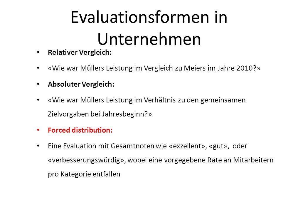 Evaluationsformen in Unternehmen Relativer Vergleich: «Wie war Müllers Leistung im Vergleich zu Meiers im Jahre 2010?» Absoluter Vergleich: «Wie war M