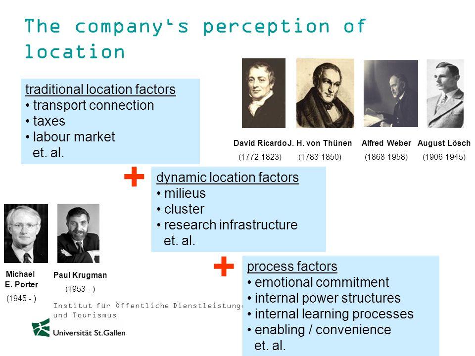 Institut für Öffentliche Dienstleistungen und Tourismus The companys perception of location traditional location factors transport connection taxes la