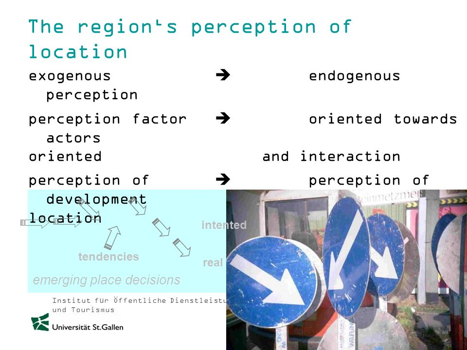 Institut für Öffentliche Dienstleistungen und Tourismus The regions perception of location exogenous endogenous perception perception factor oriented towards actors orientedand interaction perception of perception of development location emerging place decisions tendencies intented real