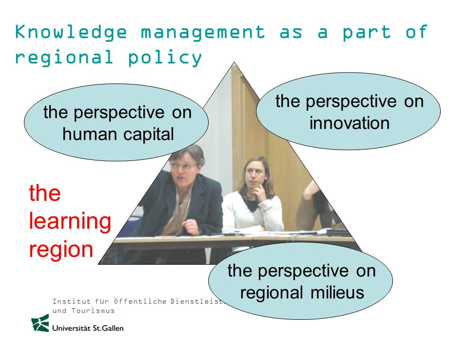 Institut für Öffentliche Dienstleistungen und Tourismus Knowledge management as a part of regional policy the perspective on human capital the perspec