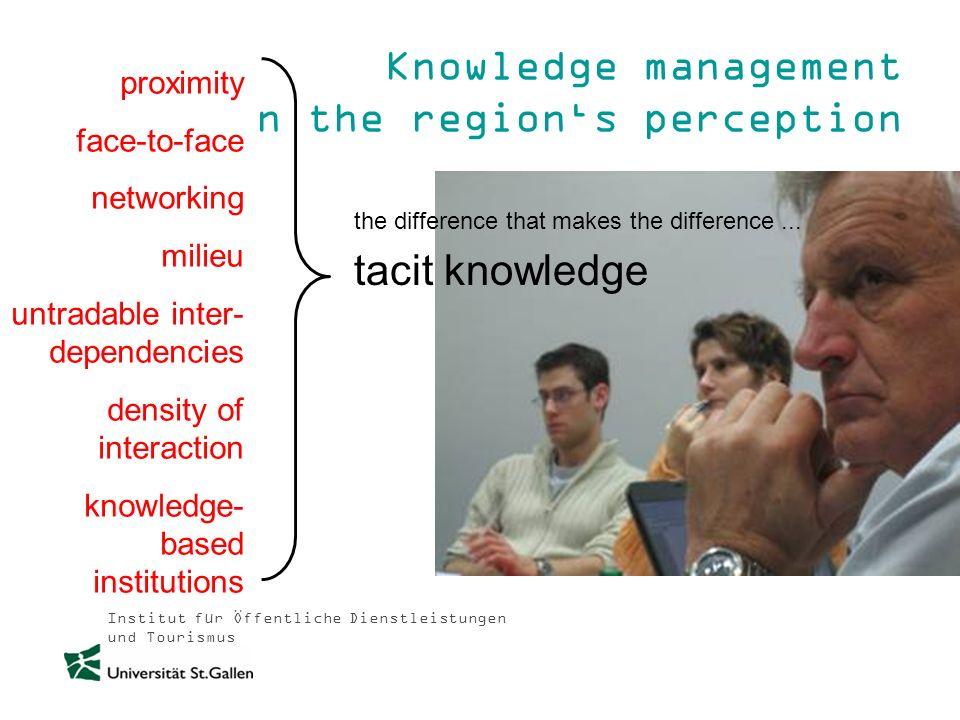 Institut für Öffentliche Dienstleistungen und Tourismus Knowledge management in the regions perception proximity face-to-face networking milieu untrad