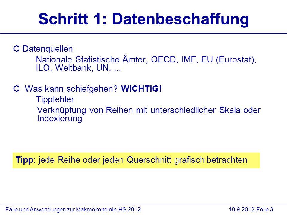 Fälle und Anwendungen zur Makroökonomik, HS 2012 10.9.2012, Folie 3 Schritt 1: Datenbeschaffung O Datenquellen Nationale Statistische Ämter, OECD, IMF, EU (Eurostat), ILO, Weltbank, UN,...