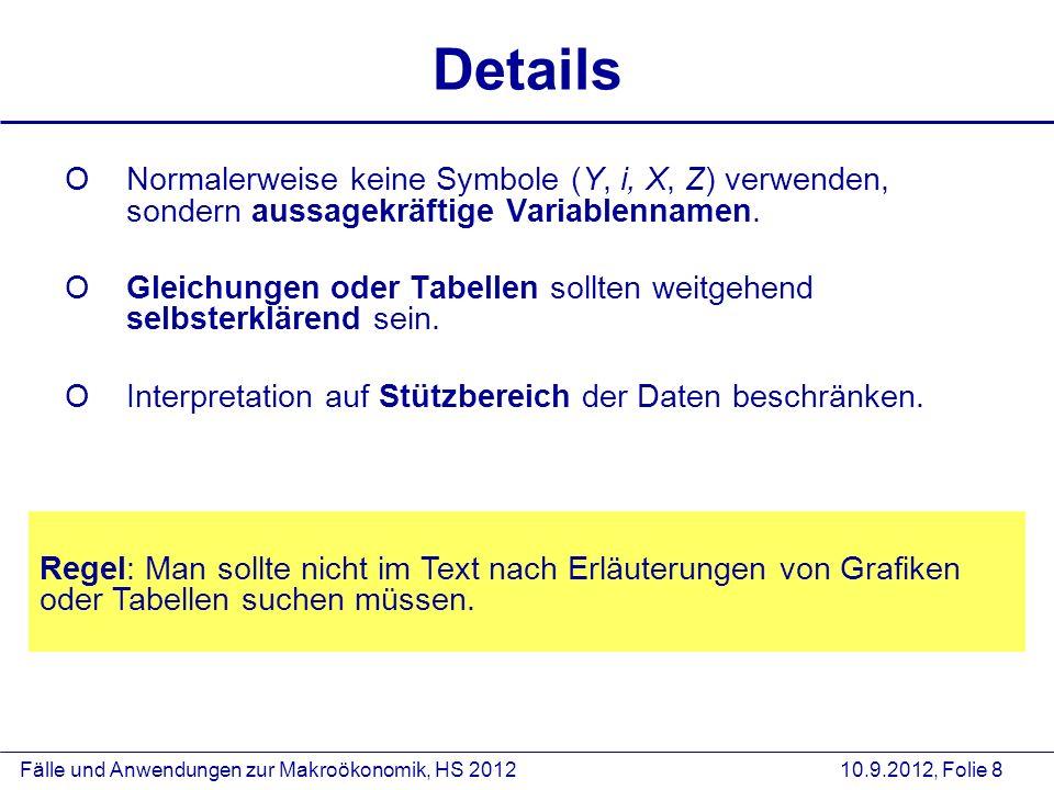 Fälle und Anwendungen zur Makroökonomik, HS 2012 10.9.2012, Folie 8 Details ONormalerweise keine Symbole (Y, i, X, Z) verwenden, sondern aussagekräfti
