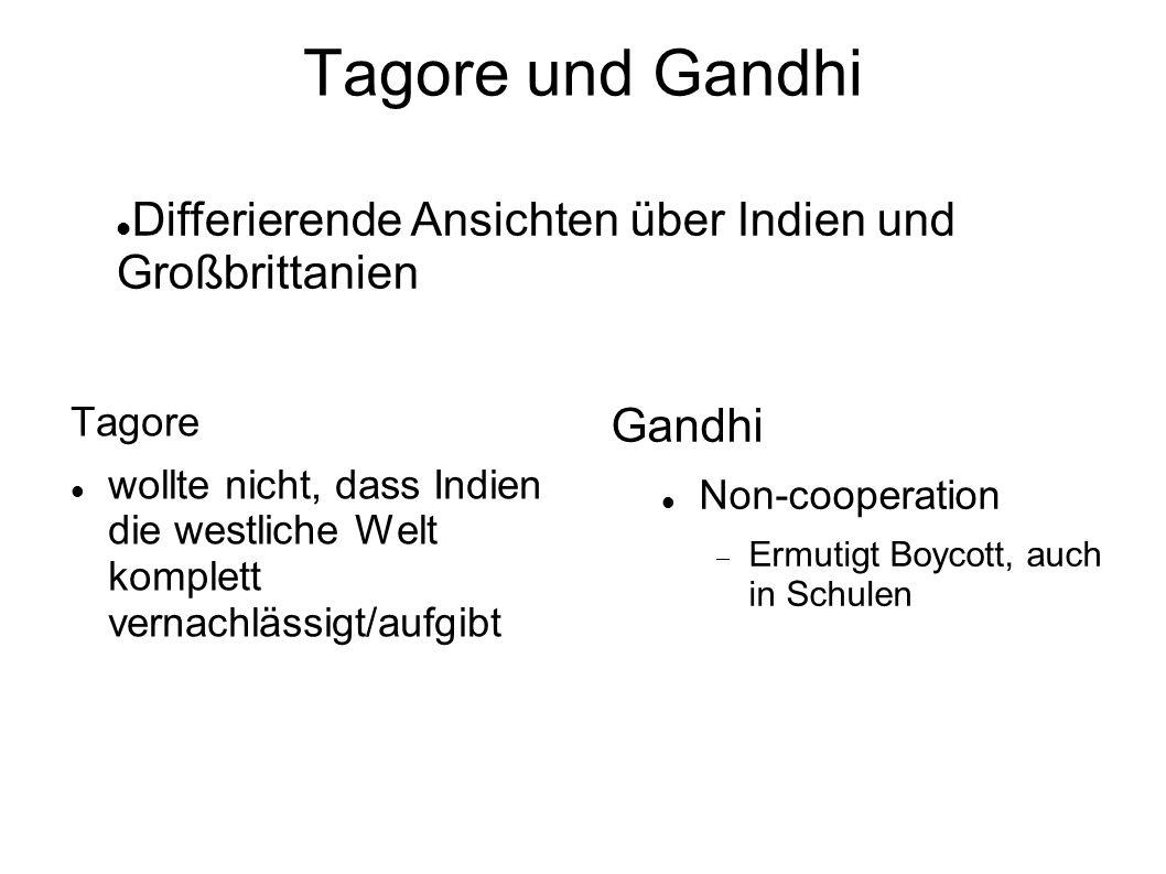 Tagore und Gandhi Tagore wollte nicht, dass Indien die westliche Welt komplett vernachlässigt/aufgibt Gandhi Non-cooperation Ermutigt Boycott, auch in