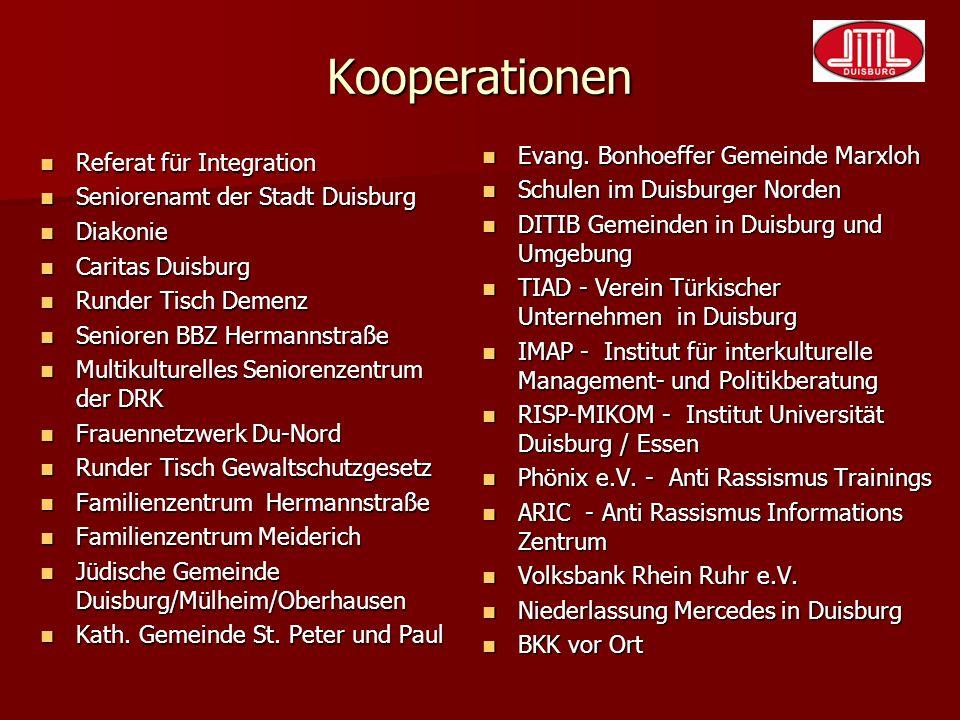Kooperationen Referat für Integration Referat für Integration Seniorenamt der Stadt Duisburg Seniorenamt der Stadt Duisburg Diakonie Diakonie Caritas