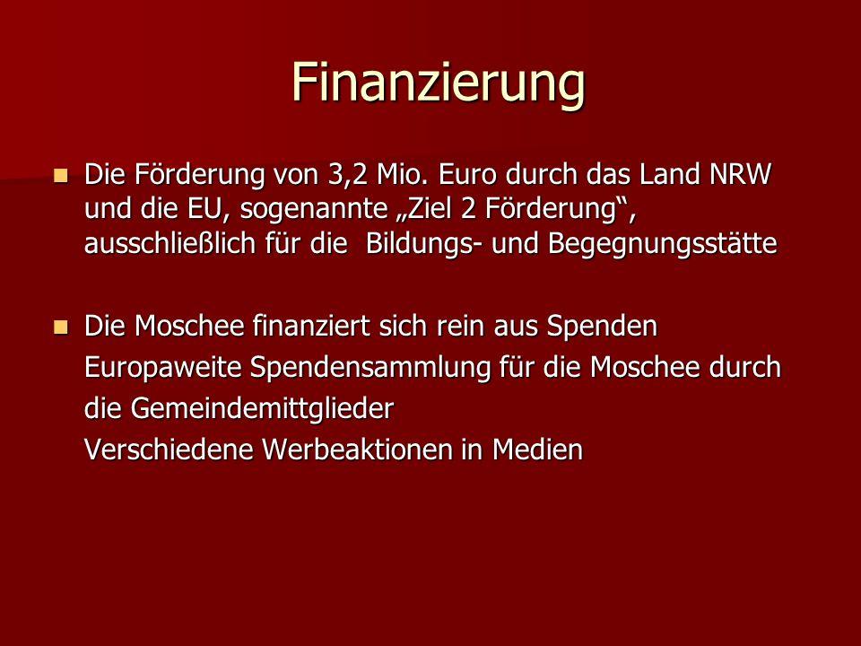 Finanzierung Finanzierung Die Förderung von 3,2 Mio. Euro durch das Land NRW und die EU, sogenannte Ziel 2 Förderung, ausschließlich für die Bildungs-