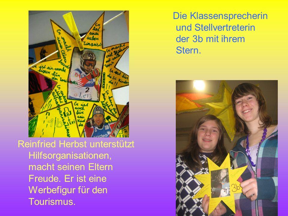 Die Klassensprecherin und Stellvertreterin der 3b mit ihrem Stern. Reinfried Herbst unterstützt Hilfsorganisationen, macht seinen Eltern Freude. Er is