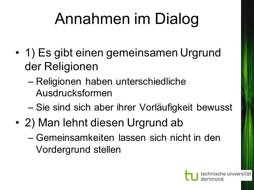 Annahmen im Dialog 1) Es gibt einen gemeinsamen Urgrund der Religionen –Religionen haben unterschiedliche Ausdrucksformen –Sie sind sich aber ihrer Vo