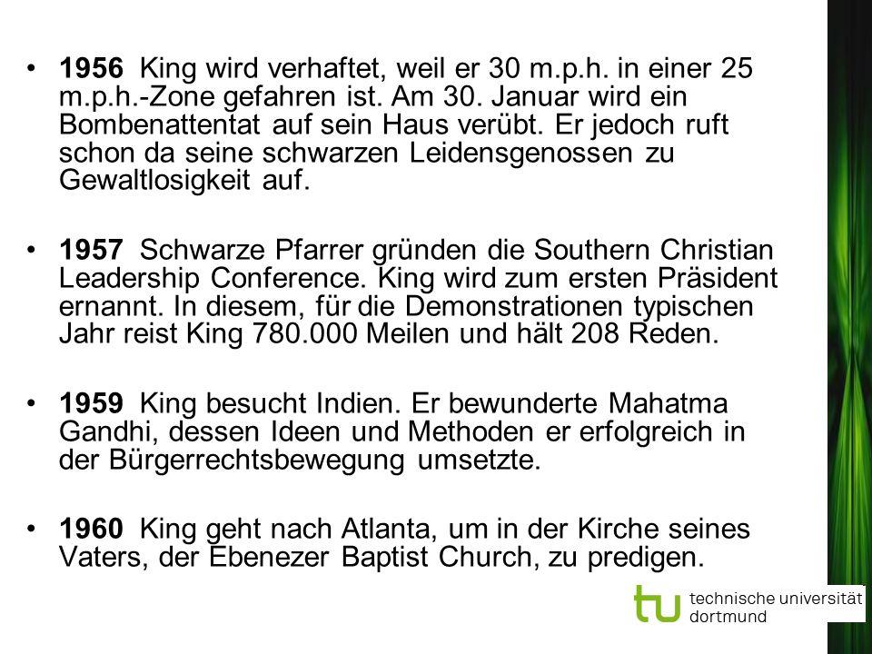 1956 King wird verhaftet, weil er 30 m.p.h. in einer 25 m.p.h.-Zone gefahren ist. Am 30. Januar wird ein Bombenattentat auf sein Haus verübt. Er jedoc