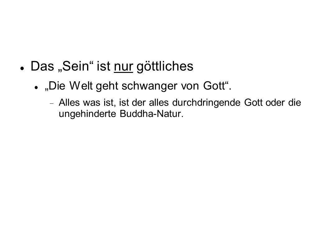 Das Sein ist nur göttliches Die Welt geht schwanger von Gott. Alles was ist, ist der alles durchdringende Gott oder die ungehinderte Buddha-Natur.
