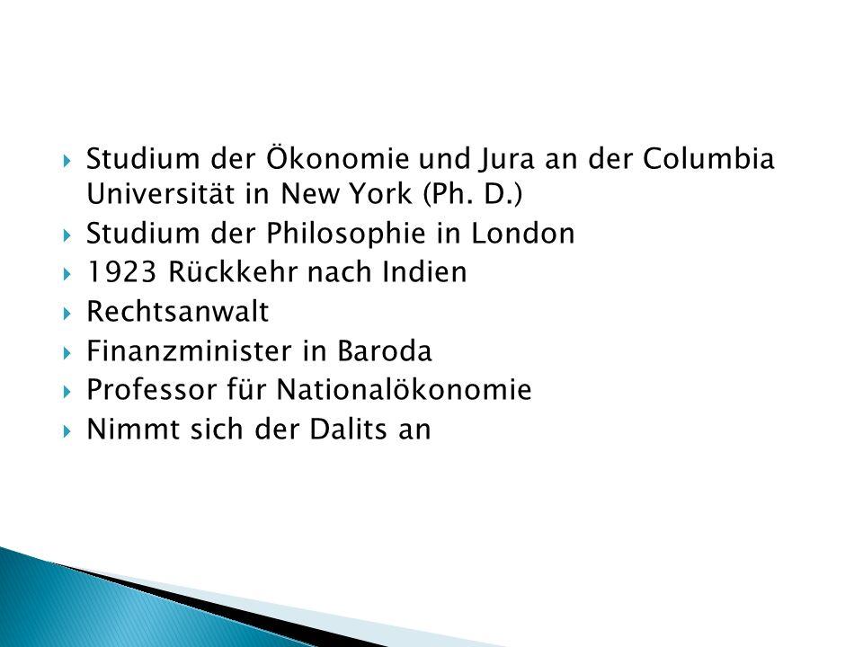 Studium der Ökonomie und Jura an der Columbia Universität in New York (Ph.