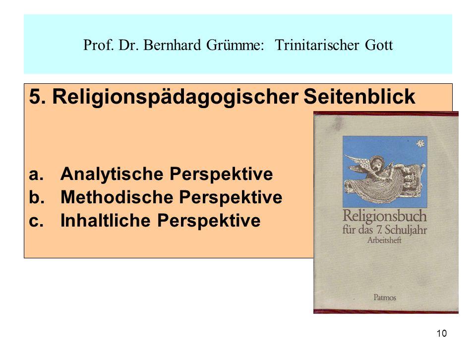 10 5. Religionspädagogischer Seitenblick a.Analytische Perspektive b.Methodische Perspektive c.Inhaltliche Perspektive Prof. Dr. Bernhard Grümme: Trin