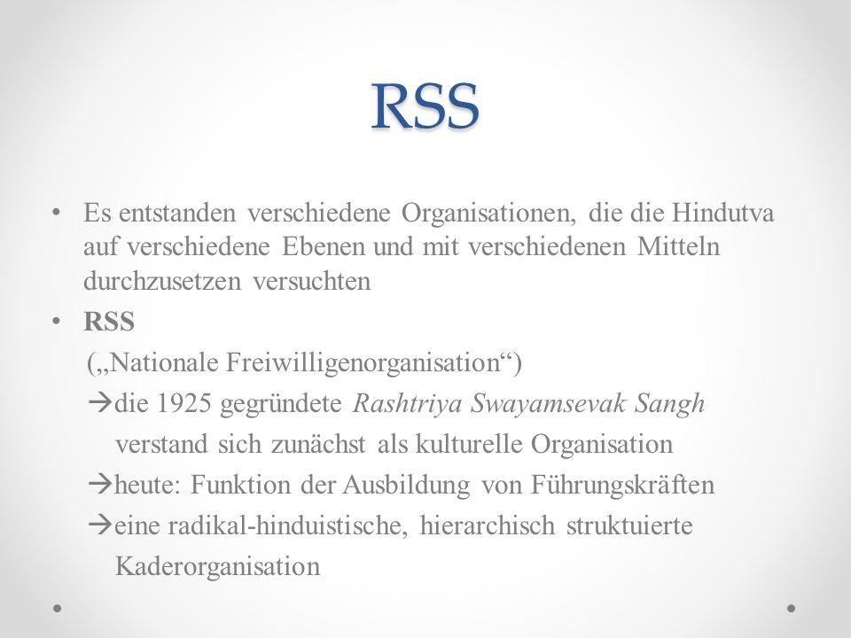 RSS Es entstanden verschiedene Organisationen, die die Hindutva auf verschiedene Ebenen und mit verschiedenen Mitteln durchzusetzen versuchten RSS (Na