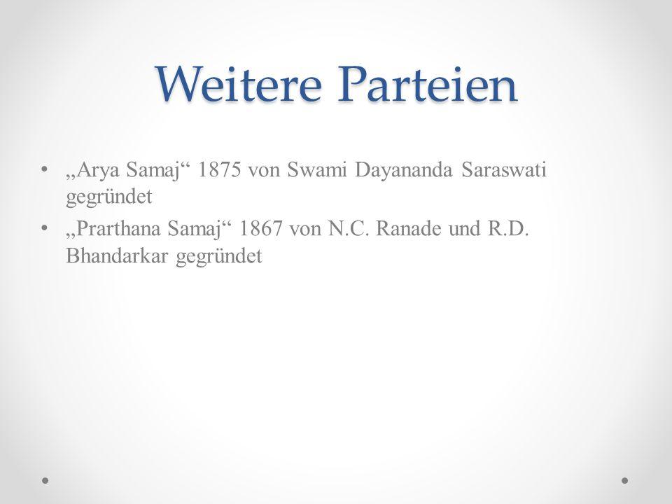 Weitere Parteien Arya Samaj 1875 von Swami Dayananda Saraswati gegründet Prarthana Samaj 1867 von N.C. Ranade und R.D. Bhandarkar gegründet
