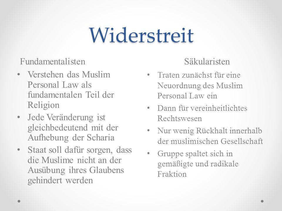 Widerstreit Fundamentalisten Säkularisten Verstehen das Muslim Personal Law als fundamentalen Teil der Religion Jede Veränderung ist gleichbedeutend m