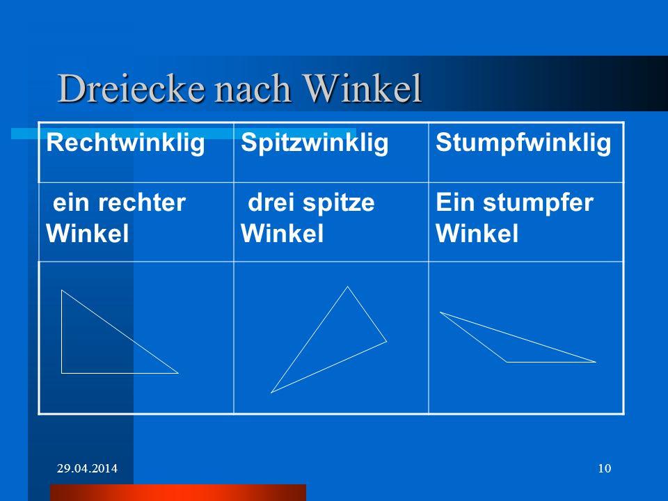 29.04.20149 Stumpfwinkliges Dreieck Dreieck mit EINEM stumpfen Winkel