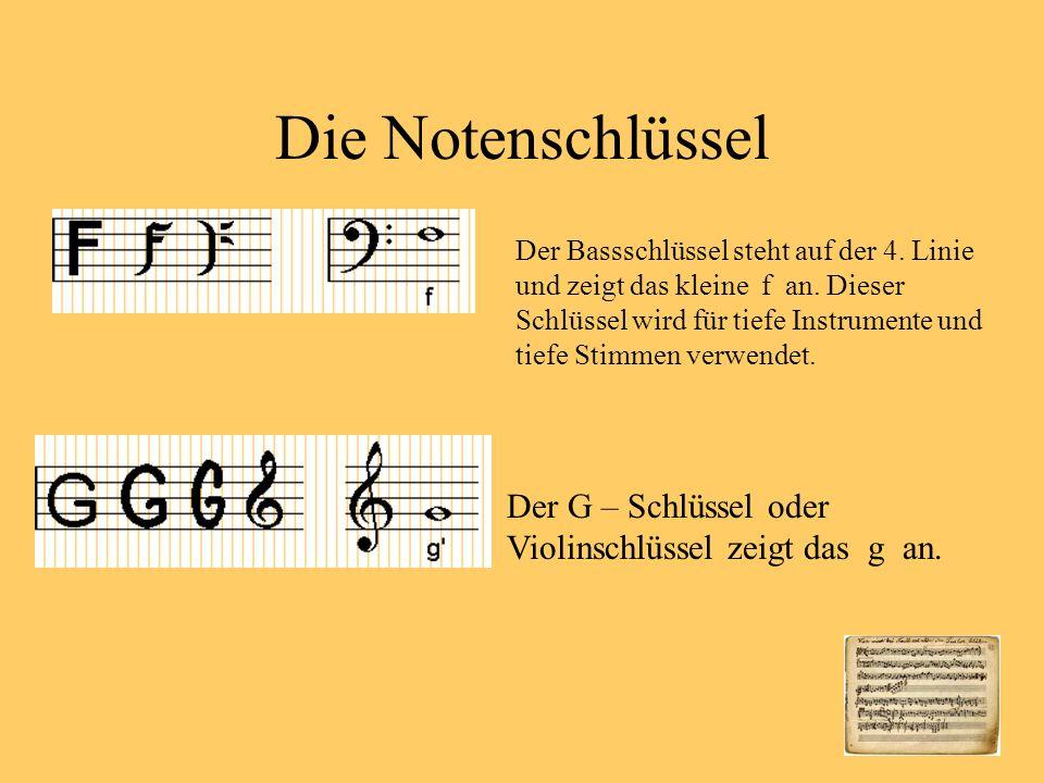 Die Notenschlüssel Der Bassschlüssel steht auf der 4.