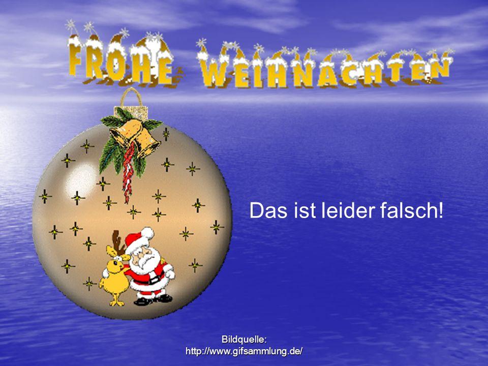 Bildquelle: http://www.gifsammlung.de/ Der Weihnachtsmann hält in seiner rechten Hand einen gelben Sack und in seiner linken Hand eine Schachtel.