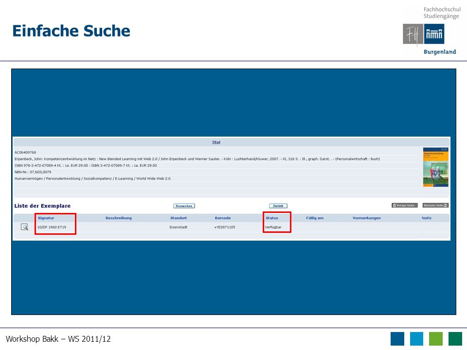 Workshop Bakk – WS 2011/12 Einfache Suche