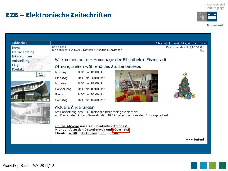 Workshop Bakk – WS 2011/12 EZB – Elektronische Zeitschriften