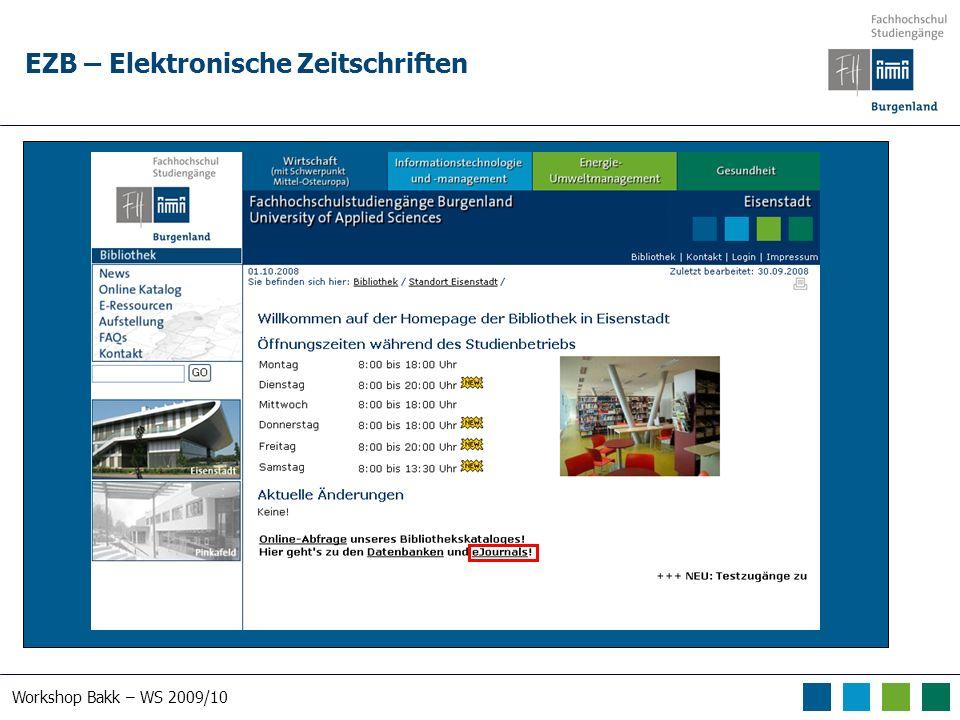 Workshop Bakk – WS 2009/10 EZB – Elektronische Zeitschriften
