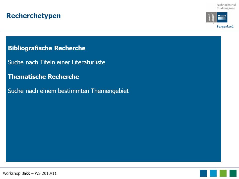 Workshop Bakk – WS 2010/11 RVK – Regensburger Verbundklassifikation
