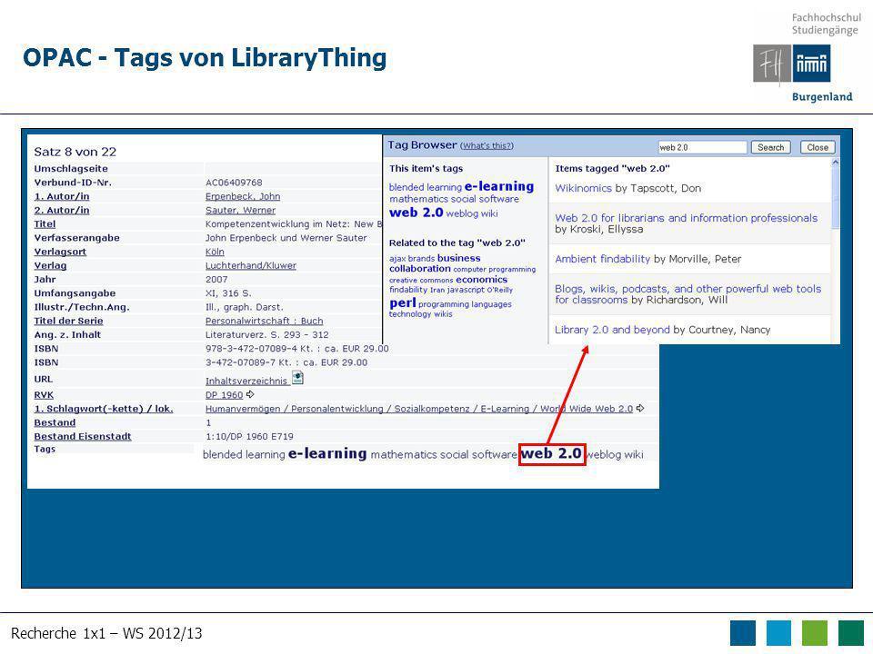 Recherche 1x1 – WS 2012/13 OPAC - Tags von LibraryThing