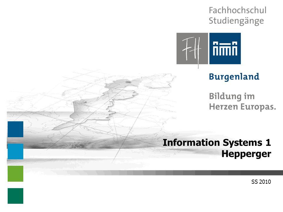 Information Systems 1 – SS 2010 Benutzerkonto