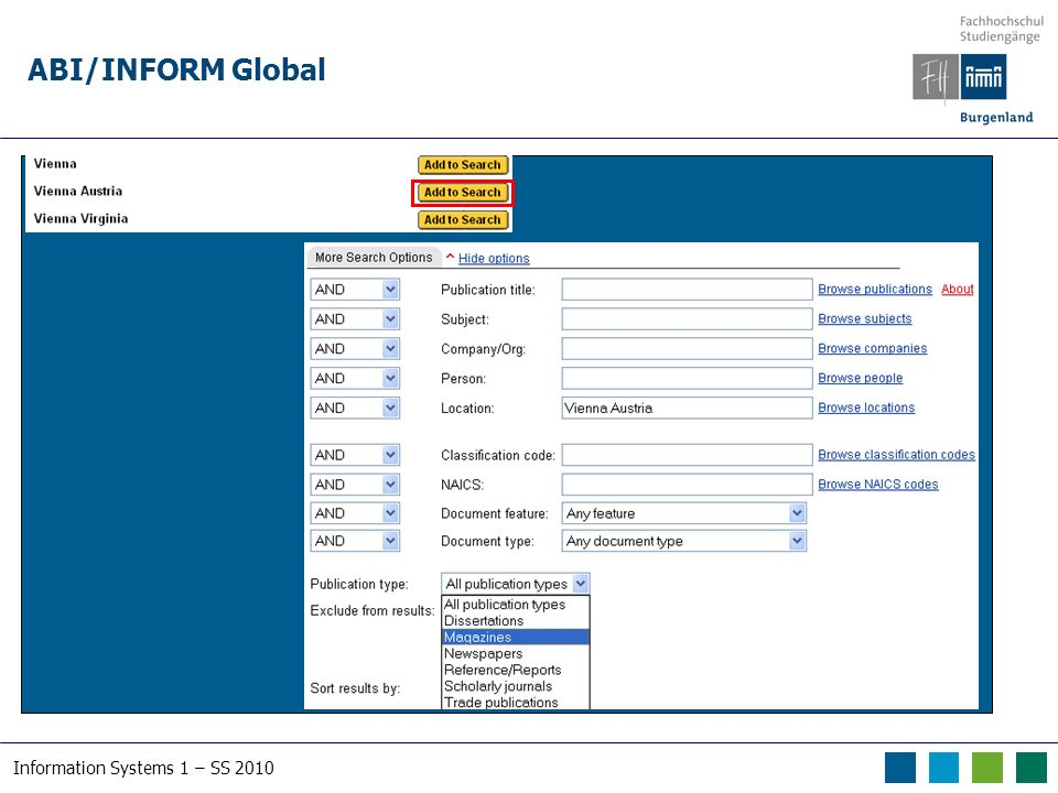Information Systems 1 – SS 2010 ABI/INFORM Global