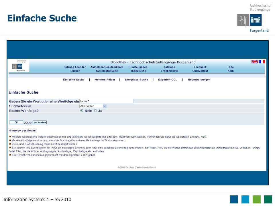 Information Systems 1 – SS 2010 Datenbanken