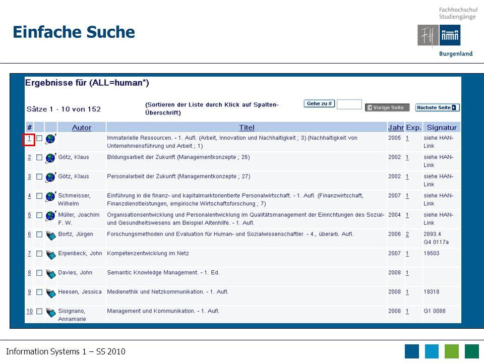 Information Systems 1 – SS 2010 Schlagwörter Österreichischer Verbundkatalog