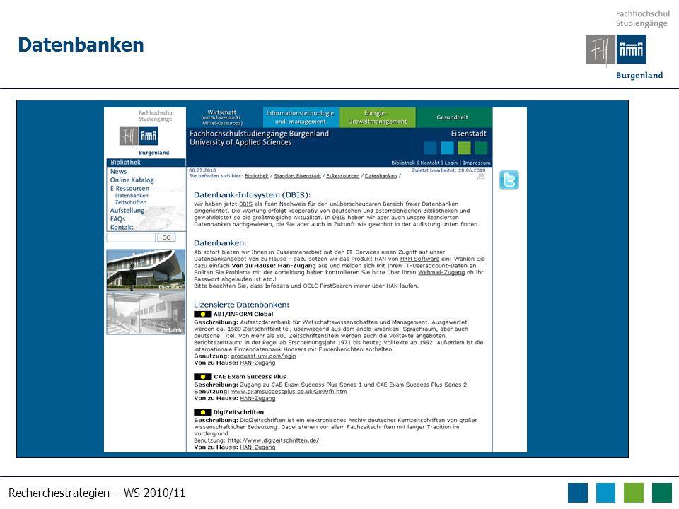 Recherchestrategien – WS 2010/11 Datenbanken