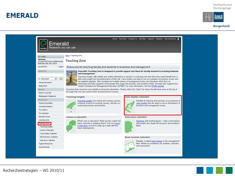 Recherchestrategien – WS 2010/11 EMERALD