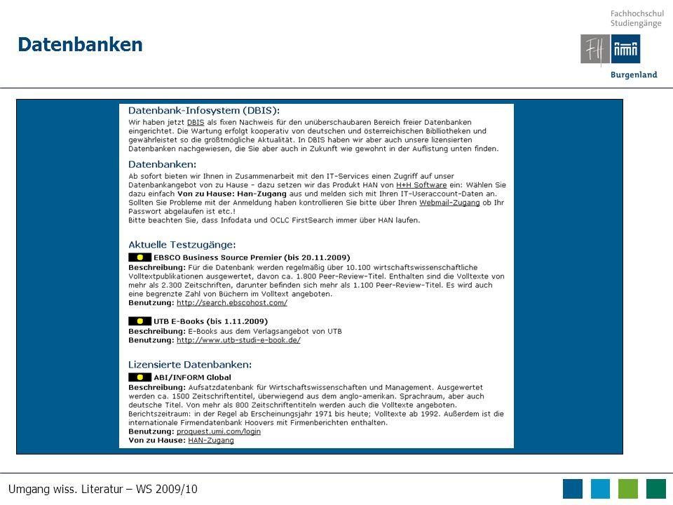 Umgang wiss. Literatur – WS 2009/10 Datenbanken