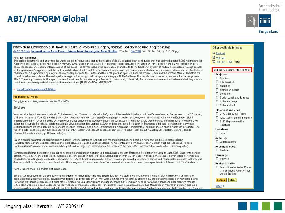 Umgang wiss. Literatur – WS 2009/10 ABI/INFORM Global