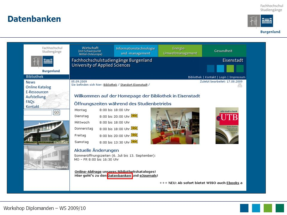Workshop Diplomanden – WS 2009/10 Datenbanken