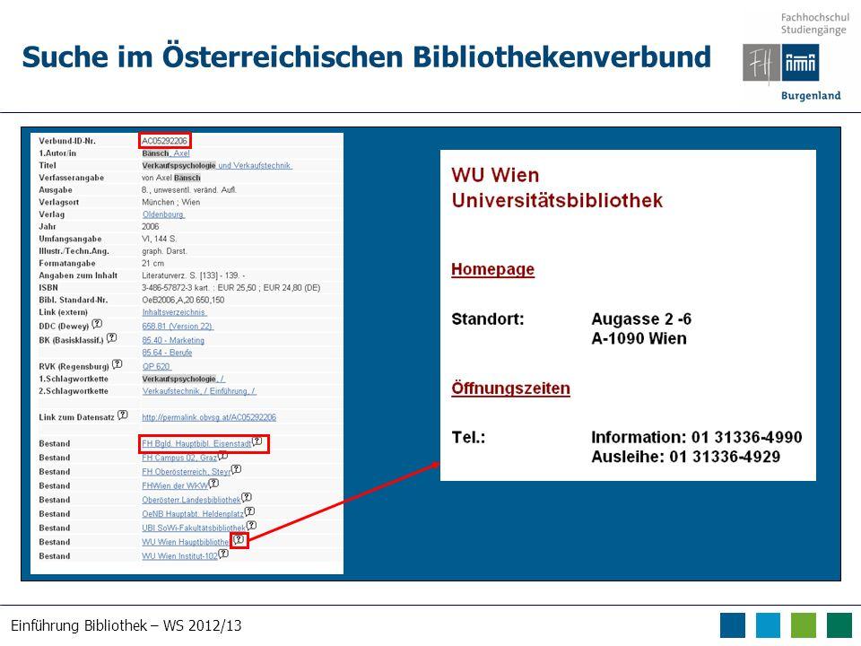 Einführung Bibliothek – WS 2012/13 Suche im Österreichischen Bibliothekenverbund