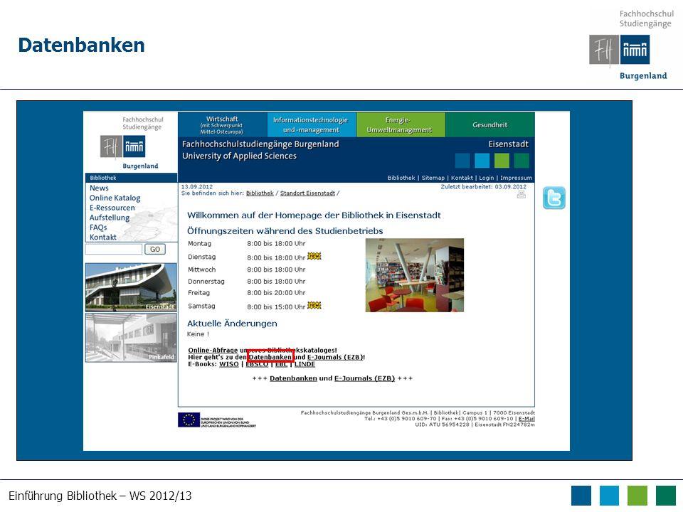 Einführung Bibliothek – WS 2012/13 Datenbanken