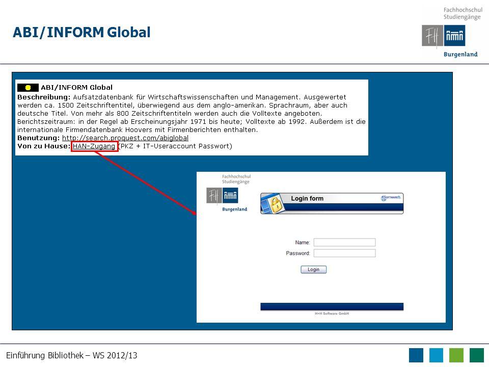 Einführung Bibliothek – WS 2012/13 ABI/INFORM Global