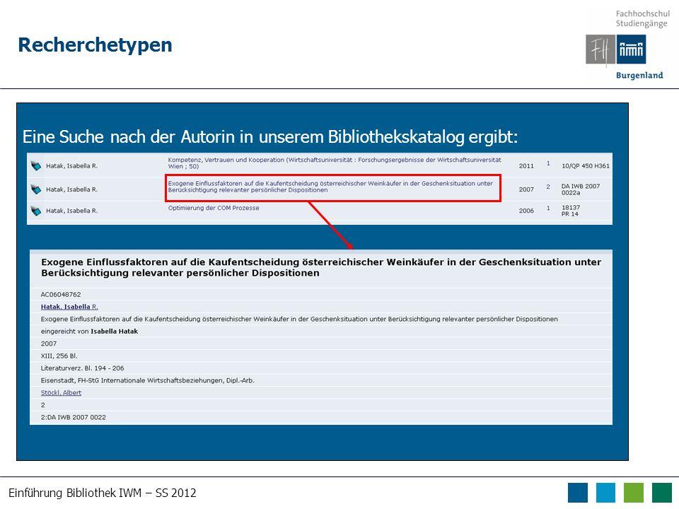 Einführung Bibliothek IWM – SS 2012 Erweiterte Suchmöglichkeiten
