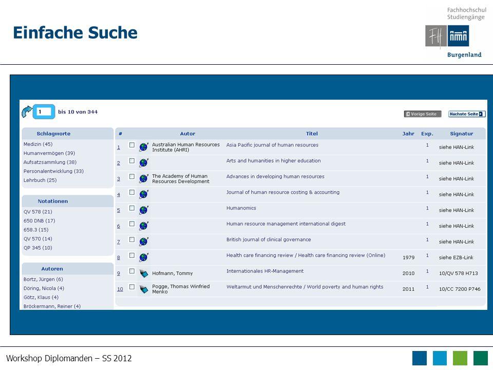 Workshop Diplomanden – SS 2012 Einfache Suche