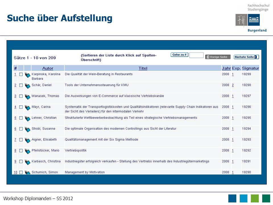 Workshop Diplomanden – SS 2012 Suche über Aufstellung